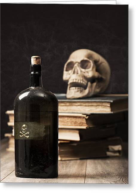 Labelled Greeting Cards - Poison Bottle Greeting Card by Amanda And Christopher Elwell