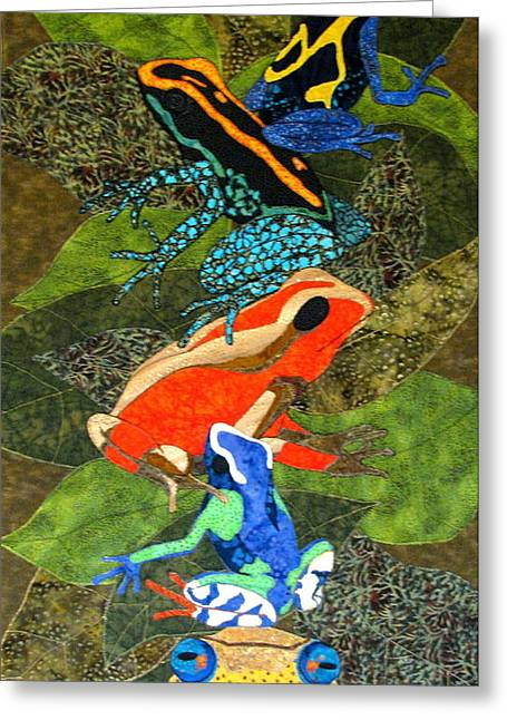 Amphibians Tapestries Textiles Greeting Cards - Poison Dart Frogs Greeting Card by Lynda K Boardman