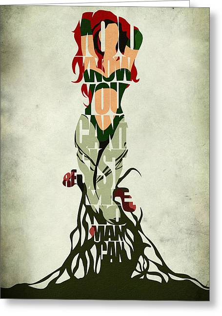Typography Print Greeting Cards - Poison Ivy Greeting Card by Ayse Deniz