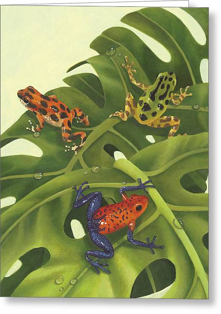 Tree Frog Paintings Greeting Cards - Poison Pals Greeting Card by Laura Regan