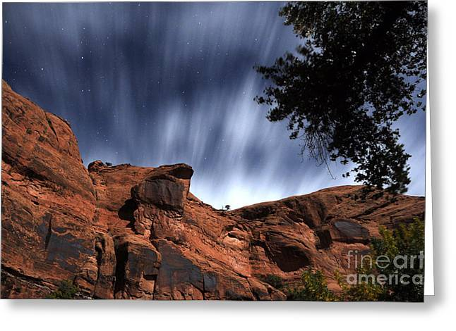 Portal Greeting Cards - Poison Spider Mesa under Moonlight Greeting Card by Gary Whitton