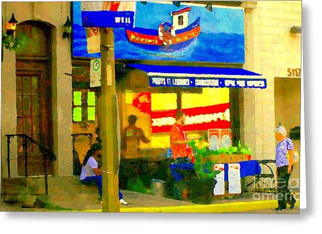 Monger Greeting Cards - Poissonerie Sherbrooke Fishmarket Charcuterie Sidewalk Vendor Fresh Fruit Cart Carole Spandau  Greeting Card by Carole Spandau