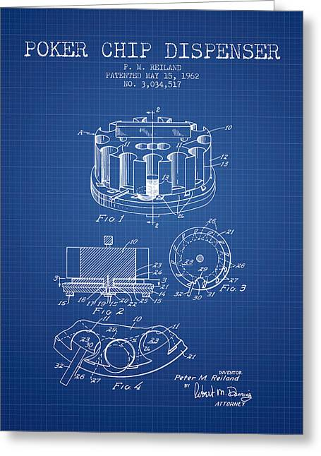 Straight Greeting Cards - Poker Chip Dispenser Patent from 1962 - Blueprint Greeting Card by Aged Pixel