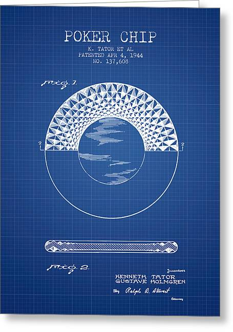 Las Vegas Art Greeting Cards - Poker Chip Patent from 1944 - Blueprint Greeting Card by Aged Pixel