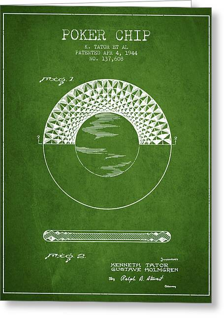 Las Vegas Art Greeting Cards - Poker Chip Patent from 1944 - Green Greeting Card by Aged Pixel