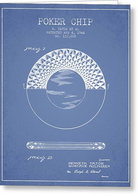 Las Vegas Art Greeting Cards - Poker Chip Patent from 1944 - Light Blue Greeting Card by Aged Pixel