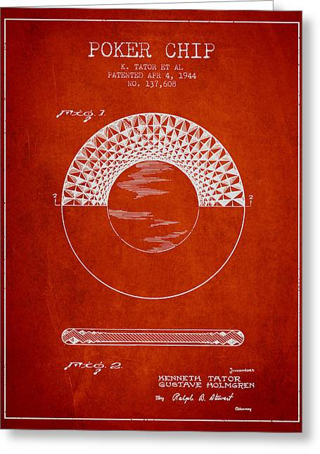 Las Vegas Art Greeting Cards - Poker Chip Patent from 1944 - Red Greeting Card by Aged Pixel