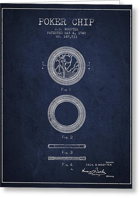 Las Vegas Art Greeting Cards - Poker Chip Patent from 1948 - Navy Blue Greeting Card by Aged Pixel