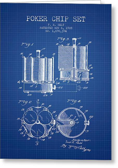 Las Vegas Art Greeting Cards - Poker Chip Set Patent from 1928 - Blueprint Greeting Card by Aged Pixel