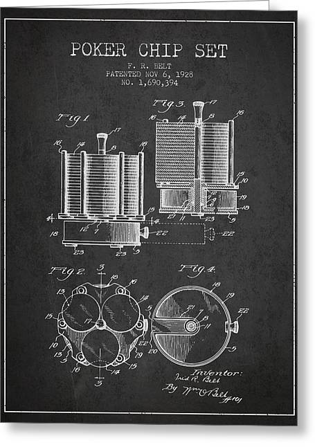 Las Vegas Art Greeting Cards - Poker Chip Set Patent from 1928 - Charcoal Greeting Card by Aged Pixel