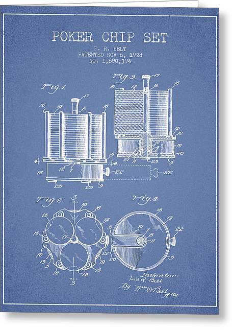 Las Vegas Art Greeting Cards - Poker Chip Set Patent from 1928 - Light Blue Greeting Card by Aged Pixel