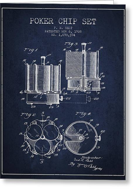 Las Vegas Art Greeting Cards - Poker Chip Set Patent from 1928 - Navy Blue Greeting Card by Aged Pixel