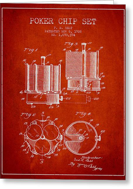 Las Vegas Art Greeting Cards - Poker Chip Set Patent from 1928 - Red Greeting Card by Aged Pixel