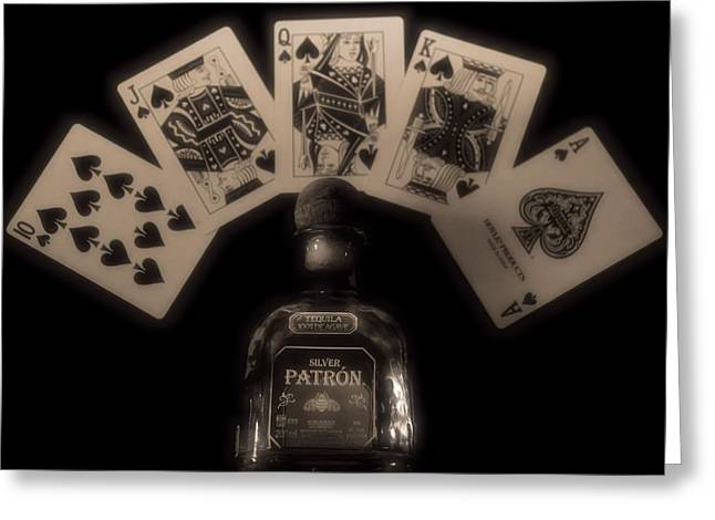 Photography Of Liquor Greeting Cards - Poker Hand And Tequila Greeting Card by Dan Sproul