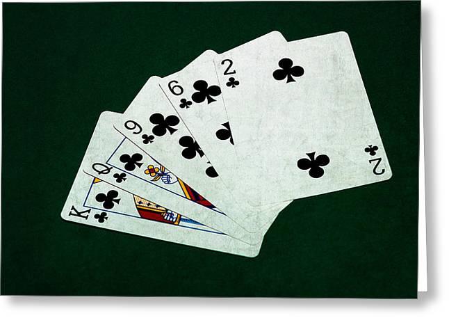 Loser Greeting Cards - Poker Hands - Flush 3 Greeting Card by Alexander Senin