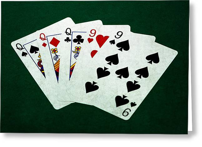 Playing Cards Greeting Cards - Poker Hands - Full House 1 Greeting Card by Alexander Senin