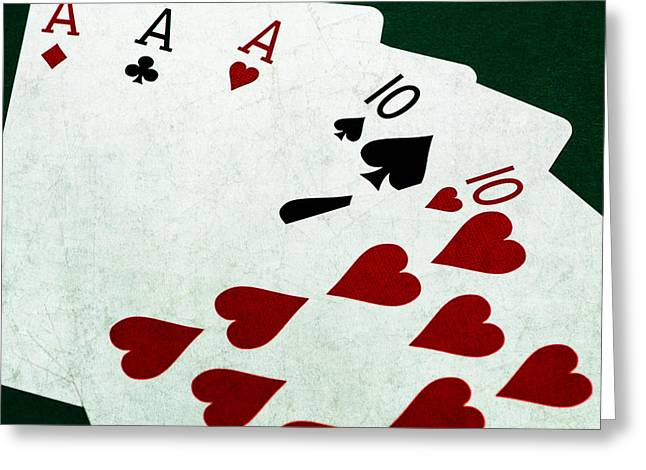 Saloons Greeting Cards - Poker Hands - Full House - Square Greeting Card by Alexander Senin