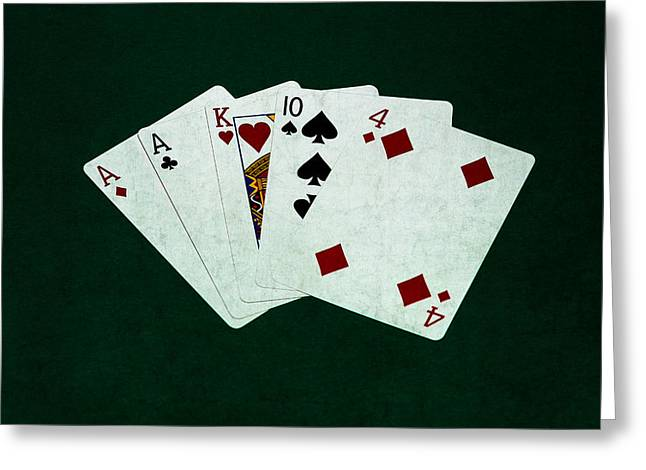 Four Aces Greeting Cards - Poker Hands - One Pair 1 Greeting Card by Alexander Senin