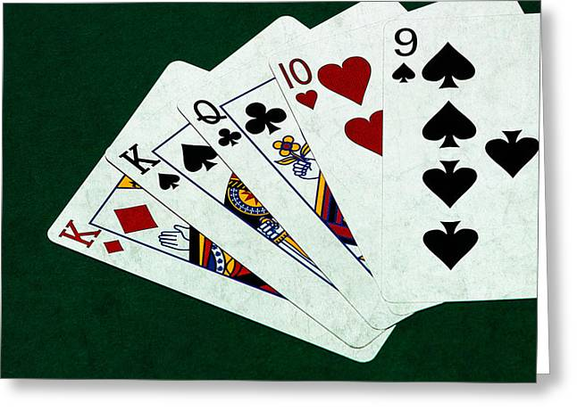 Saloons Greeting Cards - Poker Hands - One Pair - Square Greeting Card by Alexander Senin
