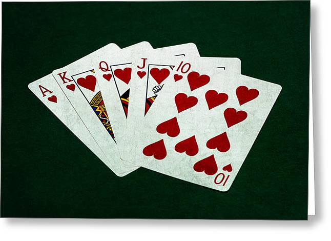 Win Greeting Cards - Poker Hands - Royal Flush 1 Greeting Card by Alexander Senin