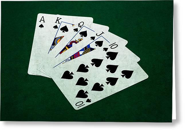 Loser Greeting Cards - Poker Hands - Royal Flush 4 Greeting Card by Alexander Senin
