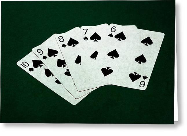 Loser Greeting Cards - Poker Hands - Straight Flush 1 Greeting Card by Alexander Senin