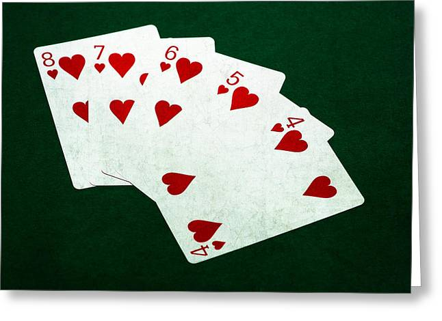 Win Greeting Cards - Poker Hands - Straight Flush 2 Greeting Card by Alexander Senin