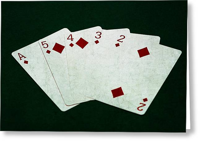 Four Aces Greeting Cards - Poker Hands - Straight Flush 4 Greeting Card by Alexander Senin