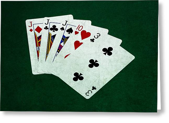 Playing Cards Greeting Cards - Poker Hands - Three Of A Kind 3 Greeting Card by Alexander Senin