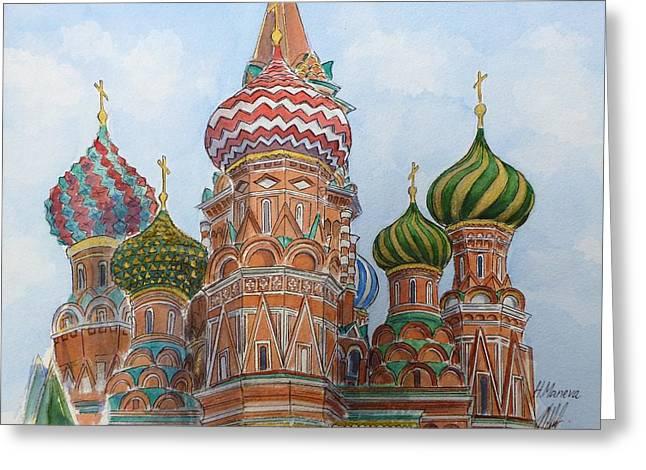 St Basils Greeting Cards - Pokrovski Cathedral Saint Basil Greeting Card by Henrieta Maneva