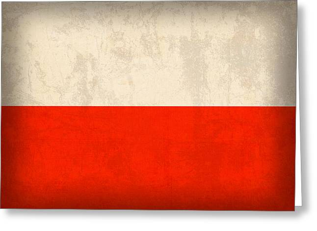 Poland Greeting Cards - Poland Flag Distressed Vintage Finish Greeting Card by Design Turnpike