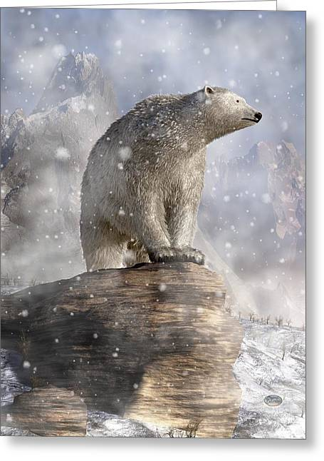 Snowstorm Digital Art Greeting Cards - Polar Bear in a Snowstorm Greeting Card by Daniel Eskridge
