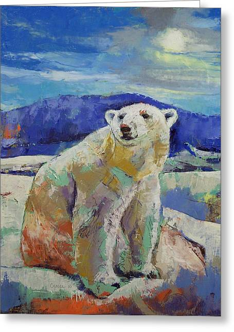 Arctic Paintings Greeting Cards - Polar Bear Sun Greeting Card by Michael Creese