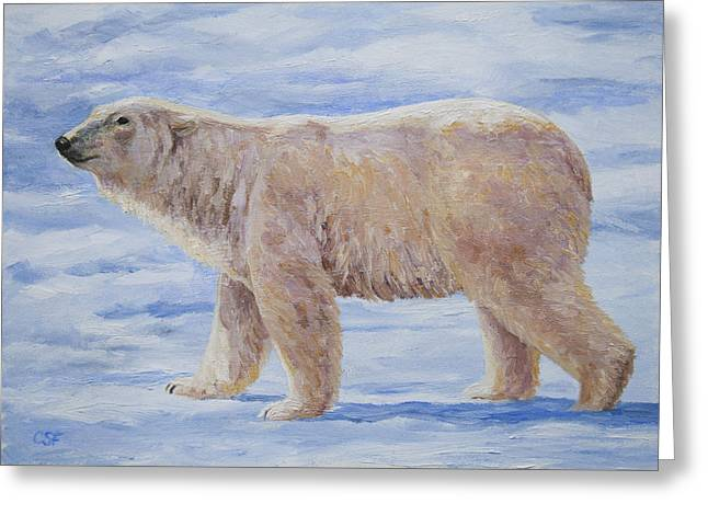 Arctic Ice Greeting Cards - Polar Bear Mini Painting Greeting Card by Crista Forest