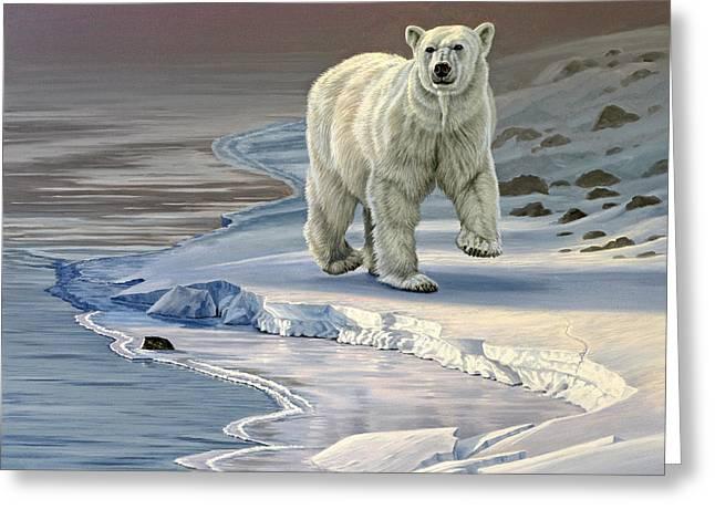 Wildlife Greeting Cards - Polar Bear on Icy Shore    Greeting Card by Paul Krapf