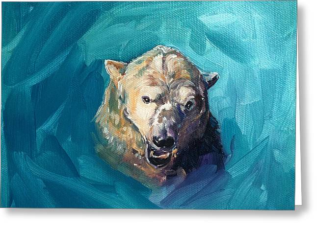 Growling Paintings Greeting Cards - Polar Bear Portrait Painting 2. Growl Greeting Card by Christine Montague