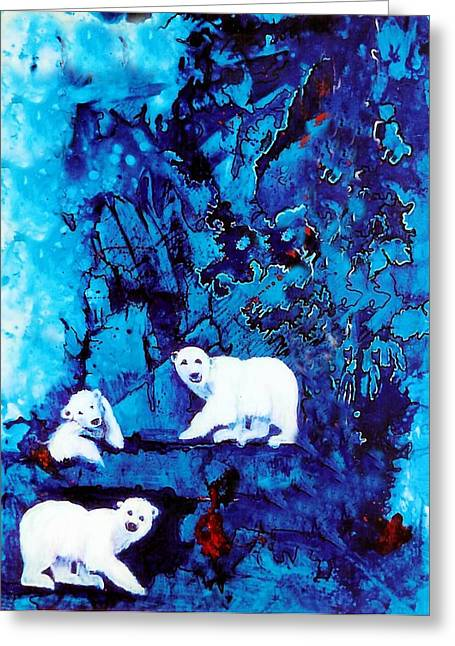 Childsroom Greeting Cards - Polar Bear Retreat Greeting Card by JAXINE Cummins