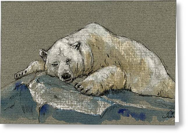 Polar Bears Greeting Cards - Polar bear sleeping Greeting Card by Juan  Bosco