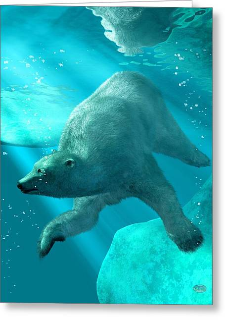 Bear Digital Greeting Cards - Polar Bear Underwater Greeting Card by Daniel Eskridge