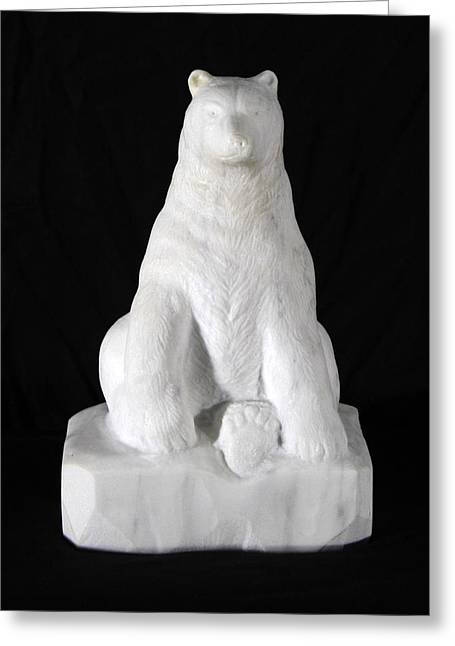 Fingers Sculptures Greeting Cards - Polar Bear Greeting Card by Wolfgang Finger