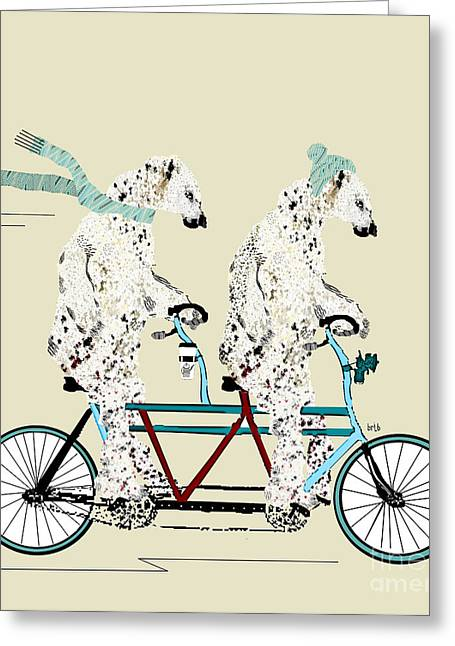 Animal Art Posters In Mixed Media Greeting Cards - Polar Bears Lets Tandem  Greeting Card by Bri Buckley