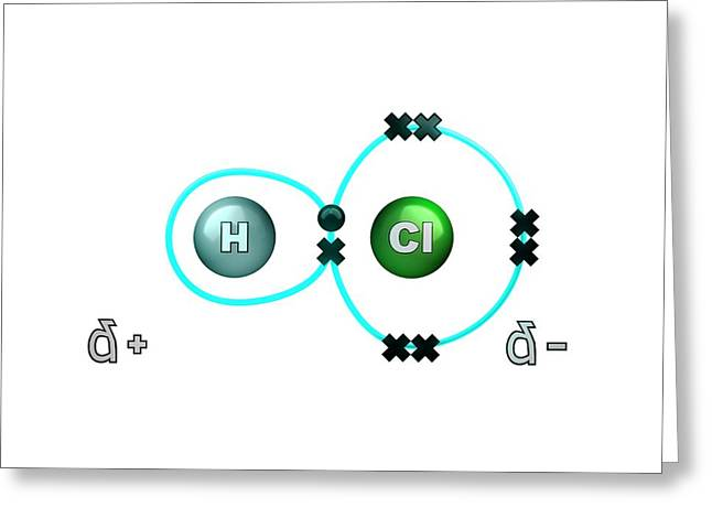 Polar Bond In Hydrogen Chloride Molecule Greeting Card by Animate4.com/science Photo Libary