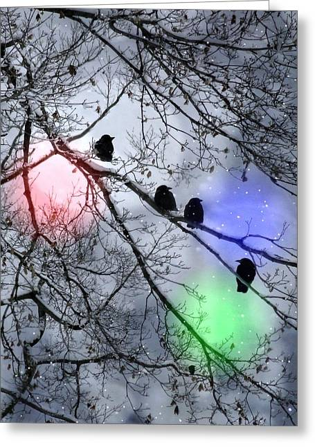 Gothicrow Greeting Cards - Polar Crows Greeting Card by Gothicolors Donna Snyder