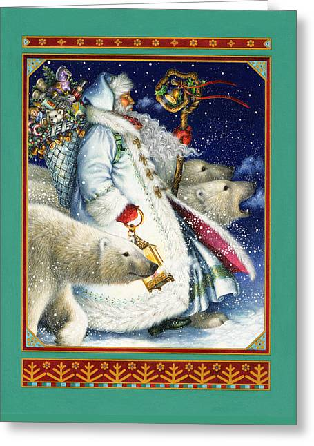 Santa Greeting Cards - Polar Magic Greeting Card by Lynn Bywaters
