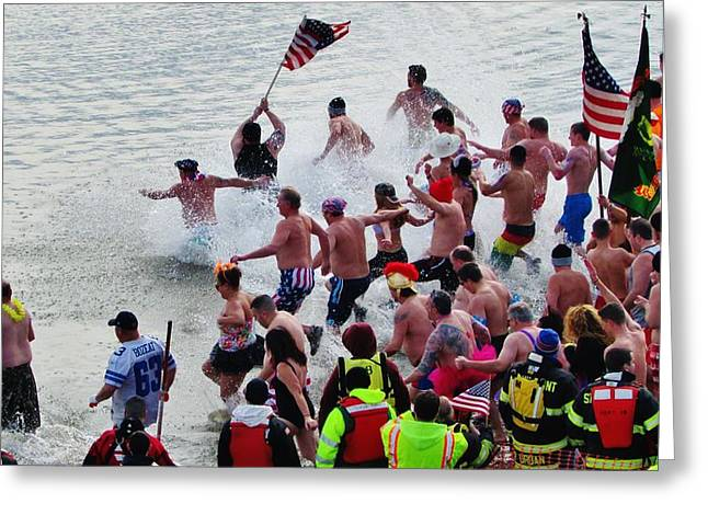 Polar Plunge Greeting Cards - Polar Plunge Stony Point Greeting Card by Thomas  McGuire