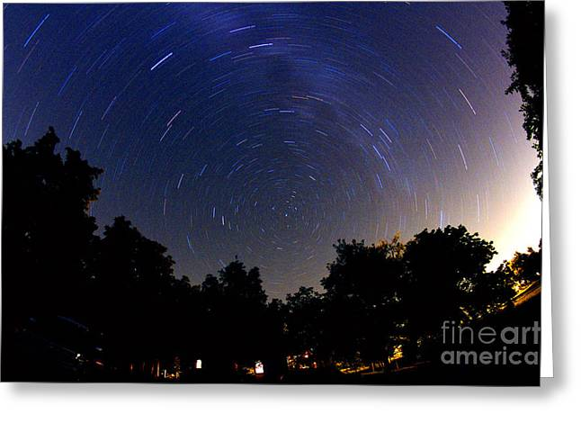 Rotation Greeting Cards - Polaris And Star Trails Greeting Card by John Chumack