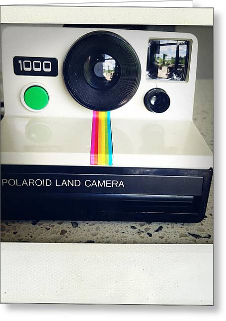 Transfer Print Greeting Cards - Polaroid camera.  Greeting Card by Les Cunliffe