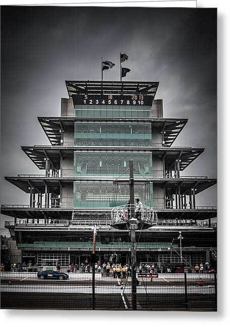 Recently Sold -  - Indy Car Greeting Cards - Pole Day at the Indy 500 Greeting Card by Ron Pate