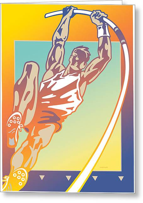Dexterity Greeting Cards - Pole Vault Greeting Card by David Chestnutt