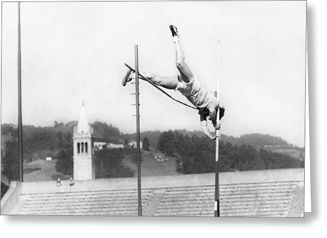 Pole Vaulter Working Out Greeting Card by Underwood Archives